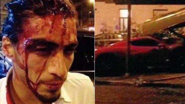 El uruguayo Martín Cáceres manejaba ebrio y chocó su Ferrari
