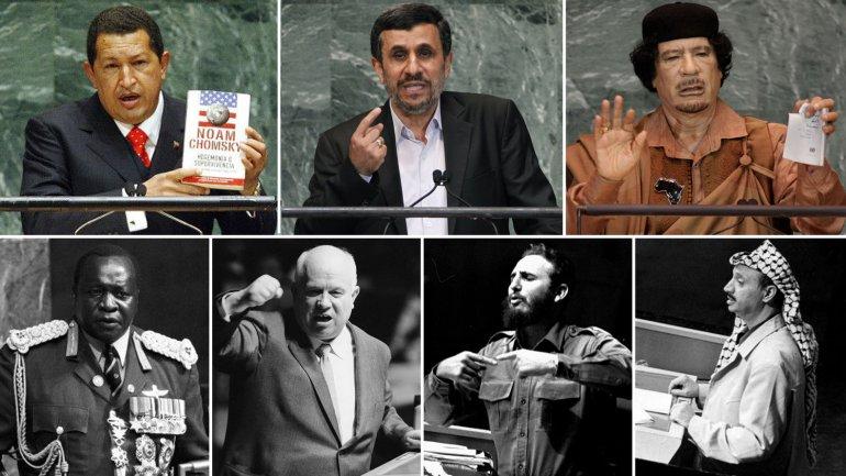 Hugo Chávez,Mahmoud Ahmadinejad, Muammar Gaddafi, Idi Amín, Nikita Kruschev, Fidel Castro y Yasser Arafat